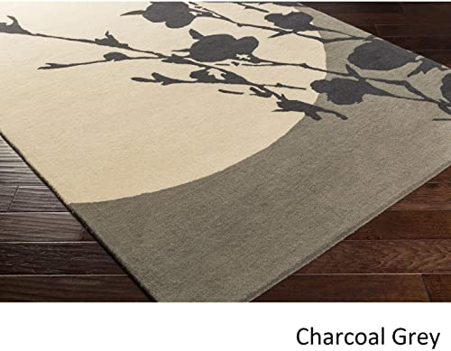 Hand Tufted Wool Area Rug – 8 X 10 Black Brown Grey Abstract Nature Modern Contemporary Rectangle Contains Latex Handmade