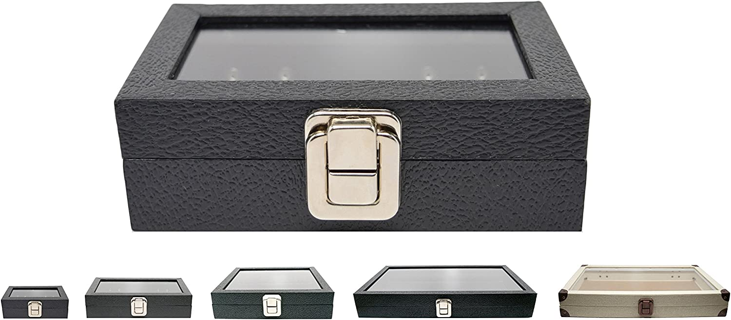 Novel Box Small Glass Top Black Leatherette Metal Clasp Jewelry Display Case 6X3.75X2 + Custom NB Pouch