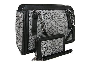 33bd21f28 New Guess G Logo Purse Hand Bag Satchel & Wristlet/Wallet Set 2 Piece Black