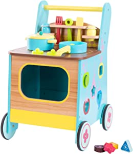 LA Chama Kids Kitchen Wooden Trolley , 3-in-1 Push Cart Buggy with Toy Grocery Accessories ,Kids Push Cart Girl & Boy/Wooden Push Toy/Walker Toy Infant/Kids Wagon/Learn Walker/Push Cart Toy