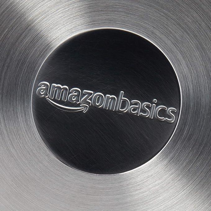 AmazonBasics - Sartén antiadherente de inducción de acero inoxidable, 20 cm, con mango suave al tacto: Amazon.es: Hogar