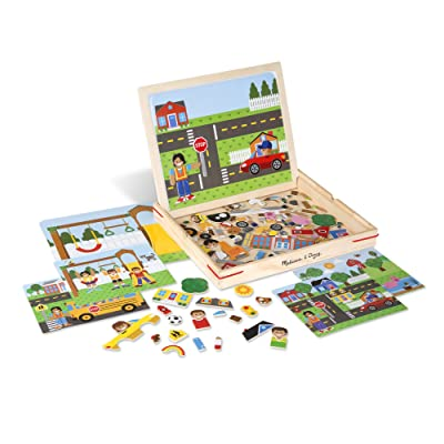 Melissa & Doug Wooden Magnetic Matching Picture Game With 119 Magnets and Scene Cards: Toys & Games