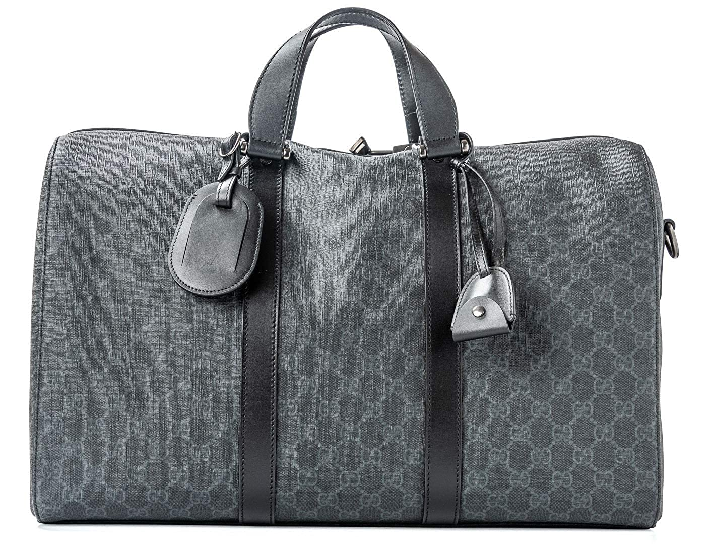 0ca7ed880d9713 Amazon.com: Gucci Duffle Luggage GG Supreme Carry On Bag Black Signature GG  Leather New: Shoes
