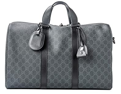 302a3b1553d Image Unavailable. Image not available for. Color  Gucci Duffle Luggage GG  Supreme Carry On Bag Black Signature GG Leather New