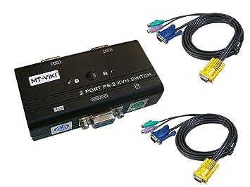 Distribuidor de periféricos de entrada teclado, ratón, pantalla (SWITCH KVM), 4 puertos, manual de VGA PS2-Adaptador con cable: Amazon.es: Electrónica