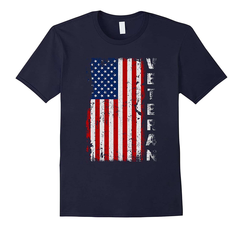 United States Military Veteran Distressed Flag Proud T-shirt-CD