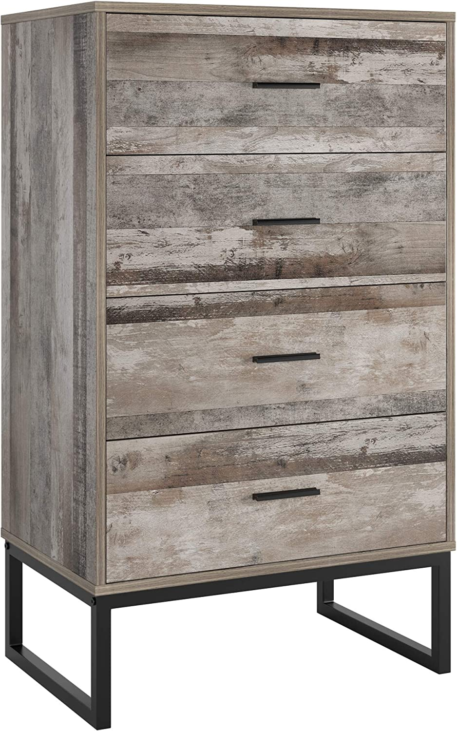 Homfa 4 Drawer Chest, Modern Storage Dresser with Large Drawer Space and Steel Legs Large Tall Nightstand with Handles Bathroom Floor Cabinet End Table Cabinet for Home Office, 40.2Hx23.6Lx15.6W in