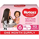 Huggies Ultra Dry Nappies, Girls, Size 6 Junior (16kg+), 112 Count, One Month Supply, (Packaging May Vary)