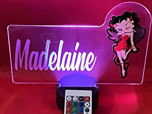 Betty Boop Light Up Lamp LED Personalized Betty Boop with Script Name Night Light Engraved Table Lamp, Our Newest Feature - It's Wow, with Remote, 16 Color Options, Dimmer, Free Engraved, Great Gift