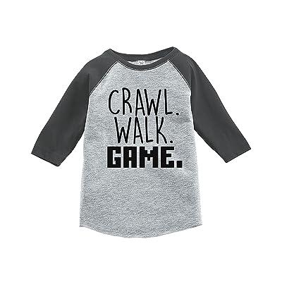 7 ate 9 Apparel Kids Crawl Walk Game Grey Baseball Tee