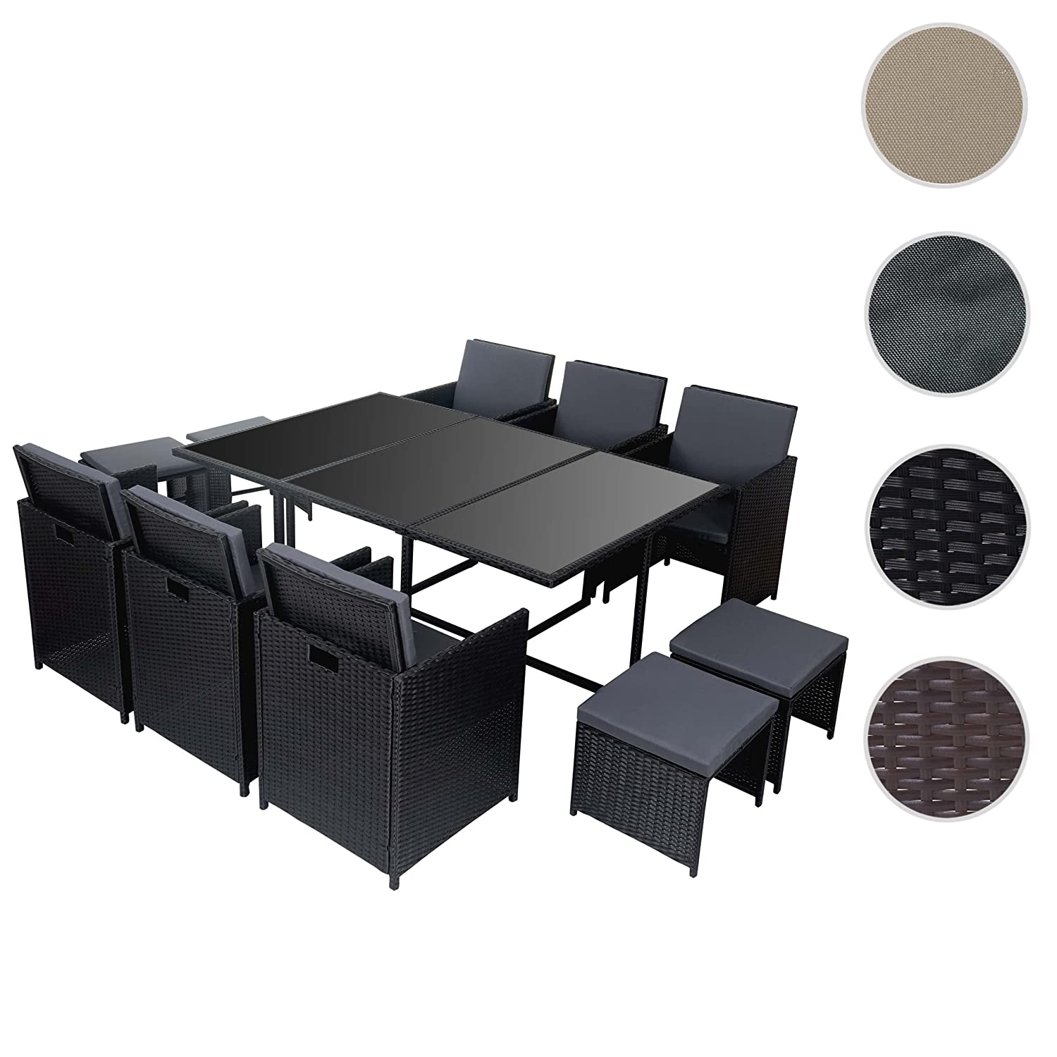 poly rattan garten garnitur kreta lounge set sitzgruppe 10 sitzpl tze schwarz kissen grau. Black Bedroom Furniture Sets. Home Design Ideas