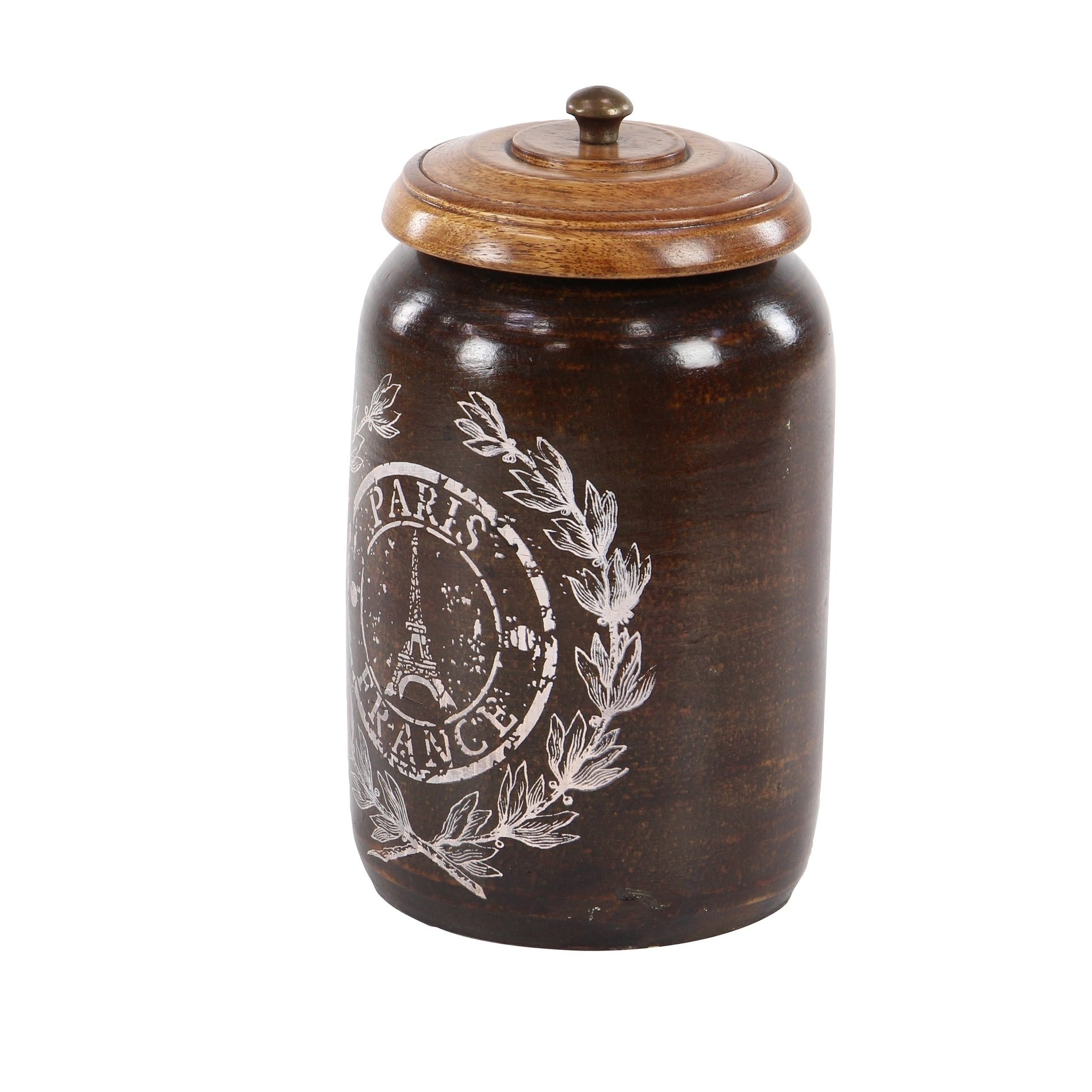 Set of 3 Farmhouse 8, 9, and 10 Inch Dark Brown Canisters