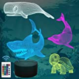 FULLOSUN Shark Gifts, 3D Shark Night Light for Kids (4 Patterns) with Remote Control 16 Colors Changing Dimmable…