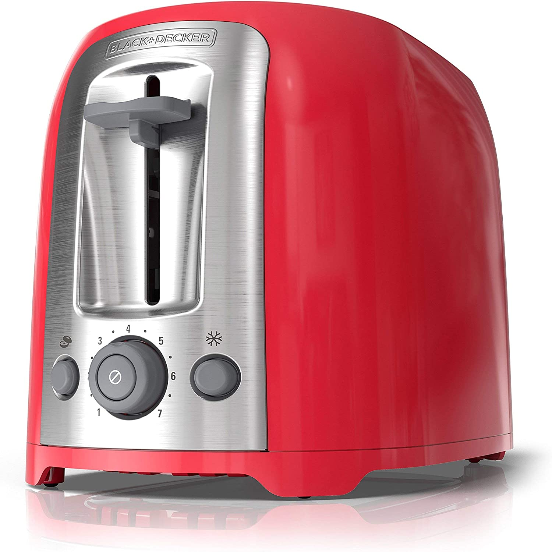 BLACK+DECKER 2-Slice Toaster, Red, TR1278RM (Renewed)