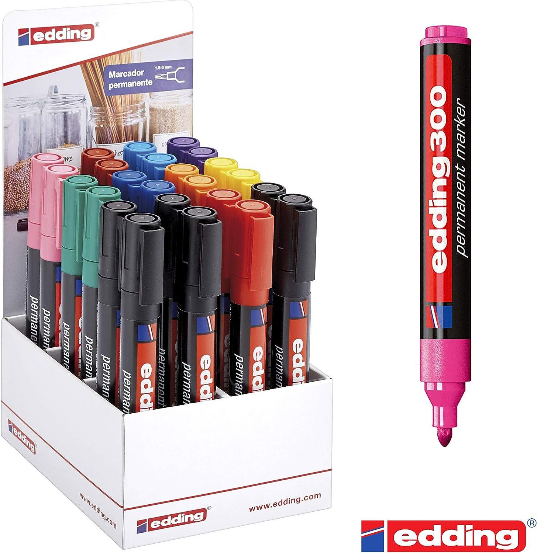 Expositor 24 Rotulador Edding permante colorines: Amazon.es: Oficina y papelería