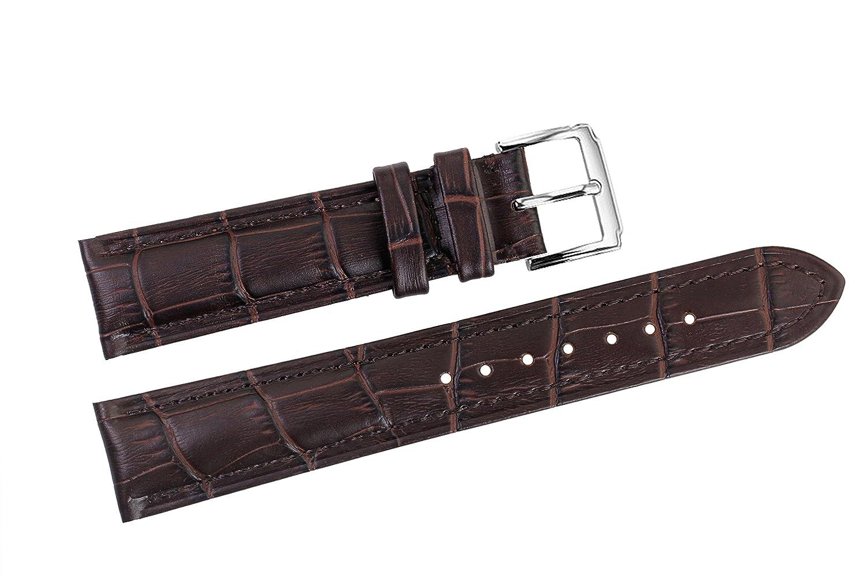 18 mmダークブラウン高級イタリアレザー時計ストラップ/バンド交換用forスイスハイエンドWatches  B01J1VS3XY