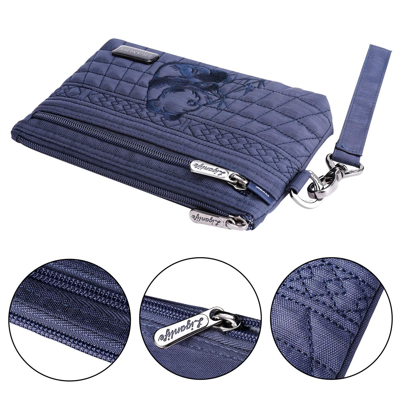 LIGANLIFE Women's Clutch Bag Water Resistant Polyester Wristlet Bag Rfid Protection (Royal blue) by LIGANLIFE (Image #2)