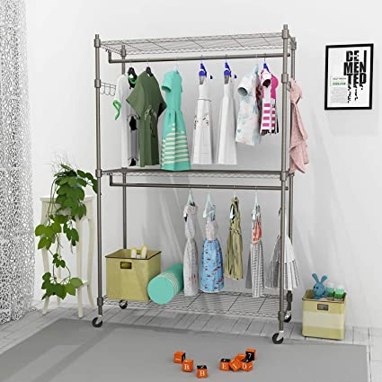 Benlet Heavy Duty Rolling Garment Rack, Portable Clothes Closet Wardrobe,  Freestanding Closet Organizer,
