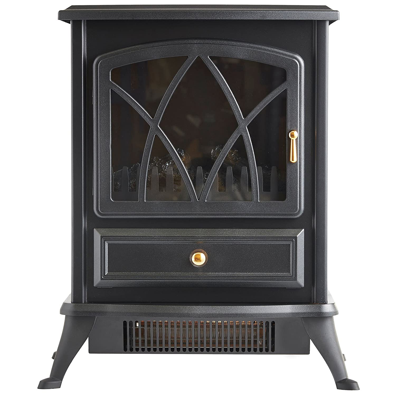 Amazon.com: VonHaus Free Standing Electric Stove Heater Portable Home  Fireplace With Log Burning Flame Effect Adjustable 1500W (16.8W X 10.8L X  20H Inches ...