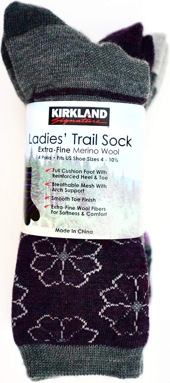 ed577c0c8 Kirkland Signature Ladies Trail Socks Extra Fine Merino Wool Pack of 4 Size  2-8.5 UK (Charcoal Purple)  Amazon.co.uk  Clothing