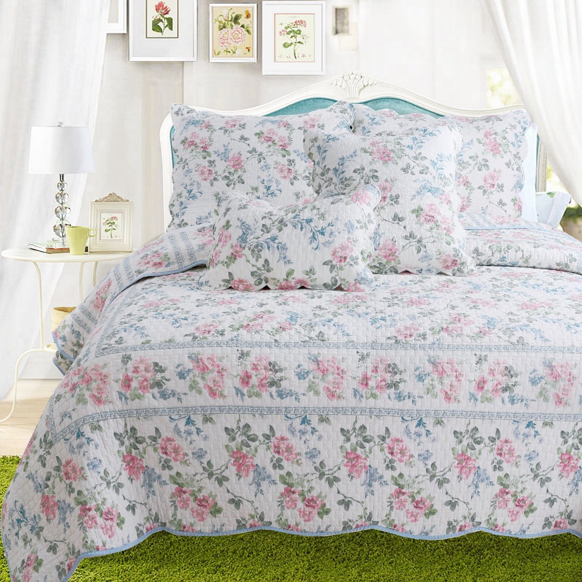 Cozy Line Home Fashions Dream of Narcissus Quilt Bedding Set, Romantic Flower Floral Pink Blue 100% Cotton Reversible Coverlet Bedspread Gifts for Women (Narcissus, King - 3 Piece)