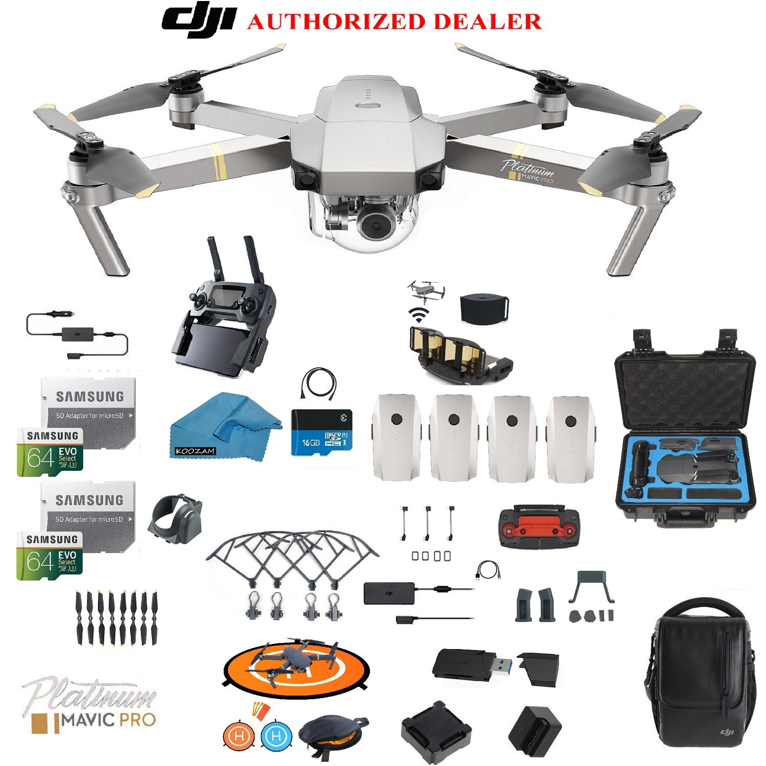 New Dji Mavic Pro Platinum Drone Quadcopter Fly More Combo With 4 Batteries