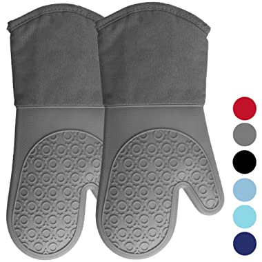 Homwe Silicone Oven Mitts with Quilted Cotton Lining - Professional Heat Resistant Kitchen Pot Holders - 1 Pair (Gray, Oven Mitts)
