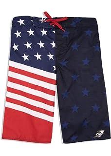 e47a650e97afe LAGUNA Boy's American Flag USA Boardshorts Swimwear Trunks, ...