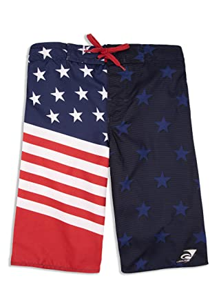 b6fbb7c40e LAGUNA Boys American Flag USA Boardshorts Swim Trunks, UPF 50+, Red/White
