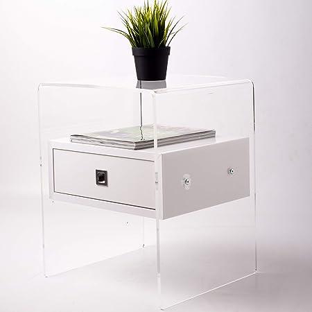 Fimel Comodino in Plexiglass   Spessore da 8 mm   Ideale per Camera da  Letto   Cameretta   Bagno  Tavolino in plexiglass   con Cassetto Bianco  Lucido