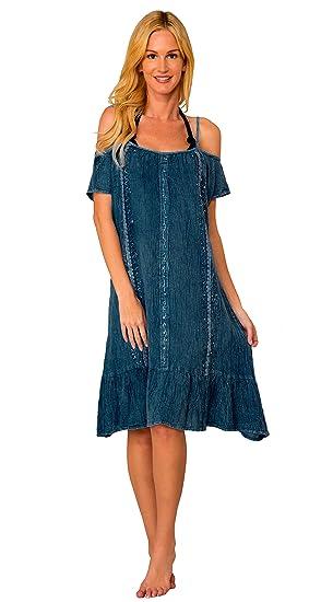 c6ab8d3751b8 INGEAR Women s Casual Off The Shoulder Sun Dress Dresses Summer Beach Slip  Sundress (Dark Denim