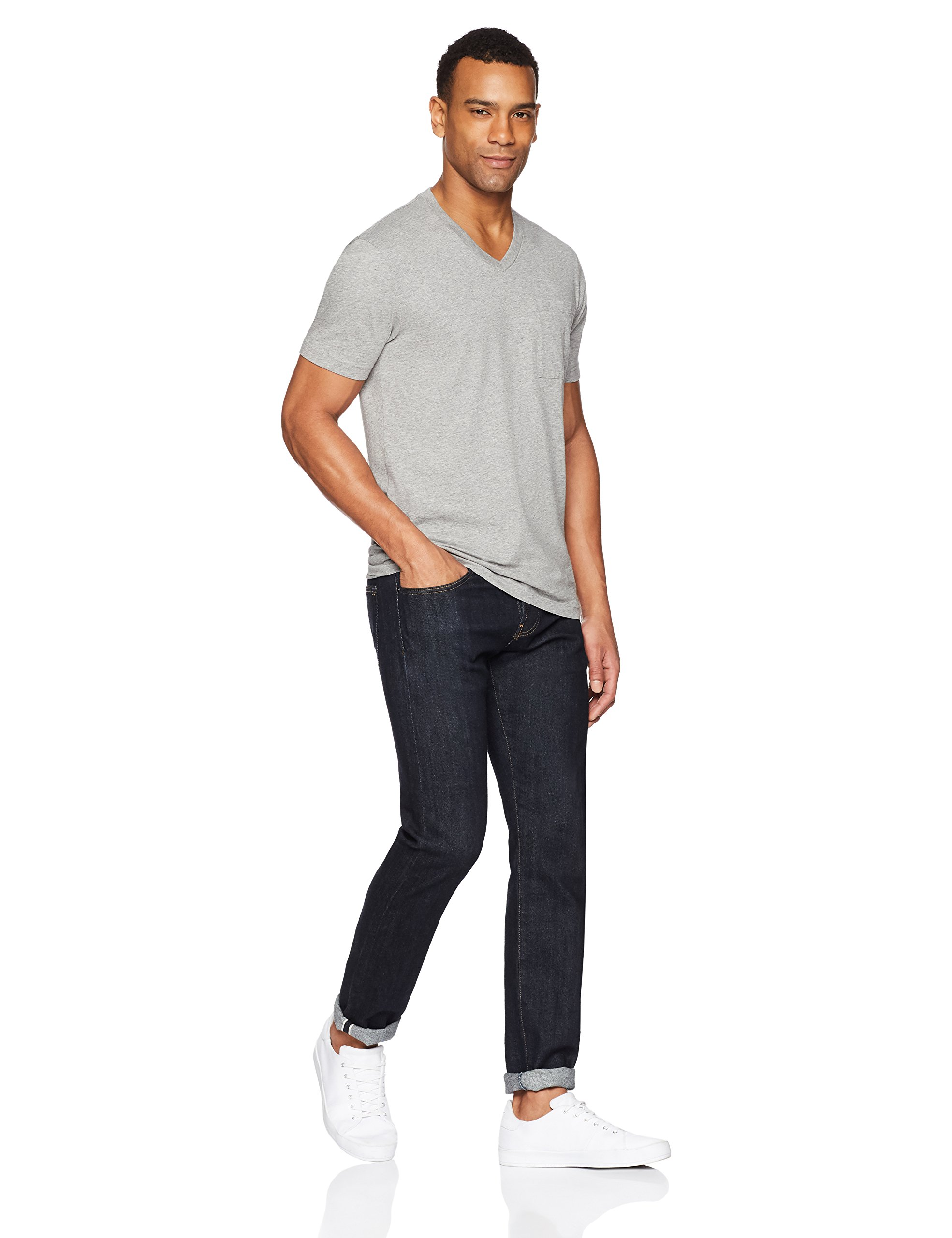 Goodthreads Men's Short-Sleeve V-Neck Cotton T-Shirt, Heather Grey, X-Large by Goodthreads (Image #2)