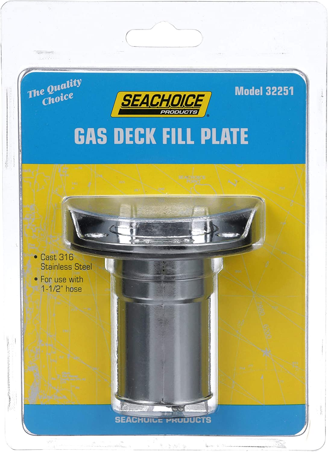 "SEACHOICE Gas Deck Fill Plate Safety Chain Cap Stainless Steel 1 1//2/"" Hose 32251"