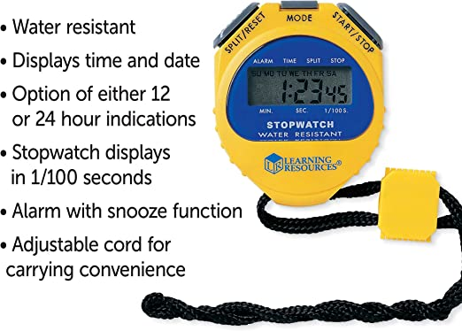 Yellow Waterproof Alarm 1//100 Second Reg Learning Resources LER0525 Big Digit Stopwatch