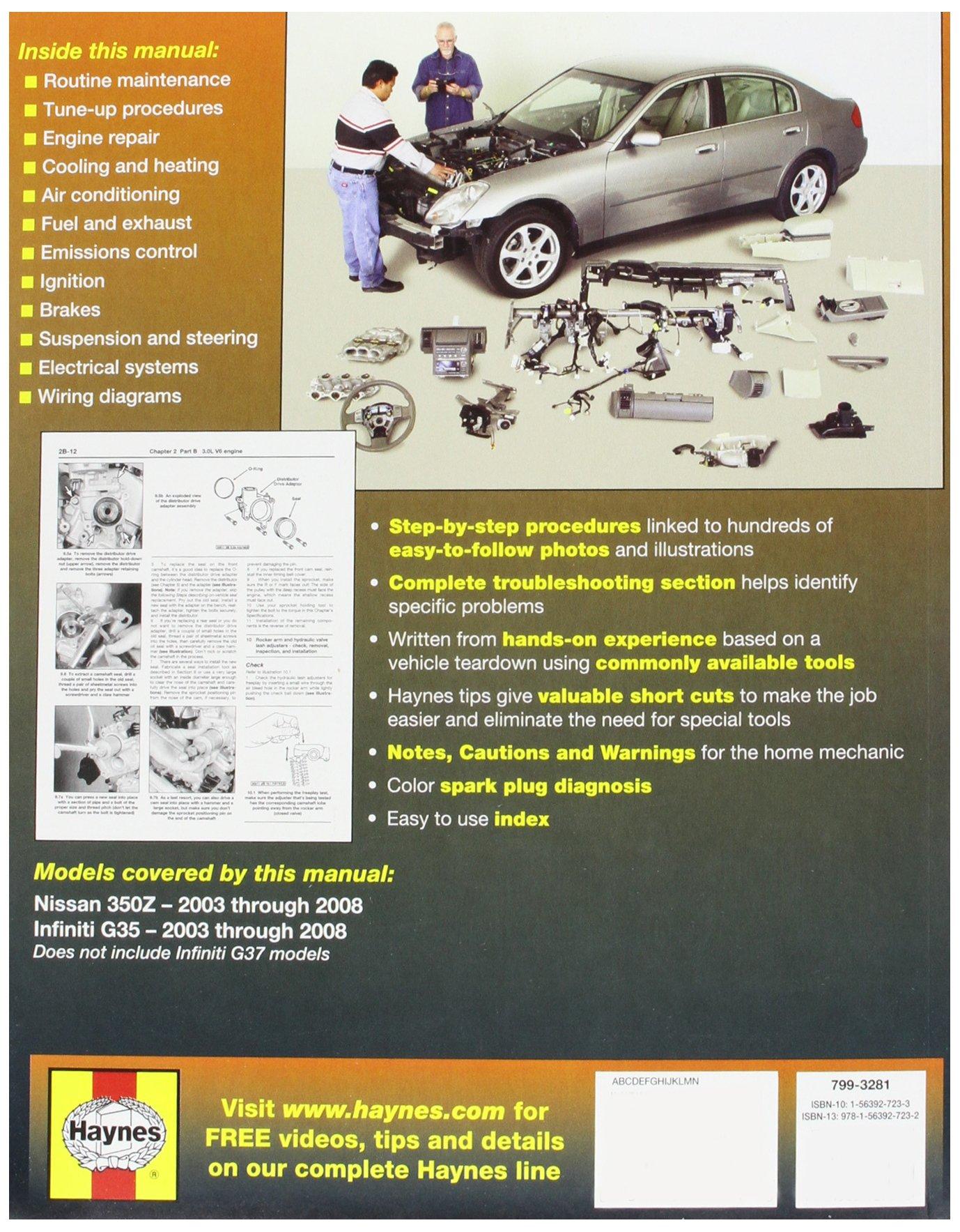 2004 Nissan 350z Car Workshop Service Manual Ebook Stiga Comfort 16 2010 Parts Diagram Engine Briggs Stratton Repairmanualspro Array Haynes Automotive Repair For And Infiniti G35 Rh Amazon Com