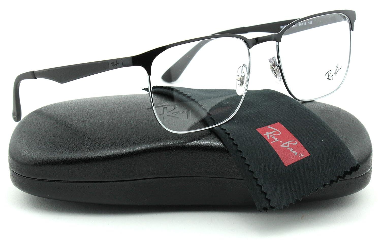 db509787ee Ray-Ban RX6363 Metal Square Unisex Eyeglasses (Silver Black Frame 2861