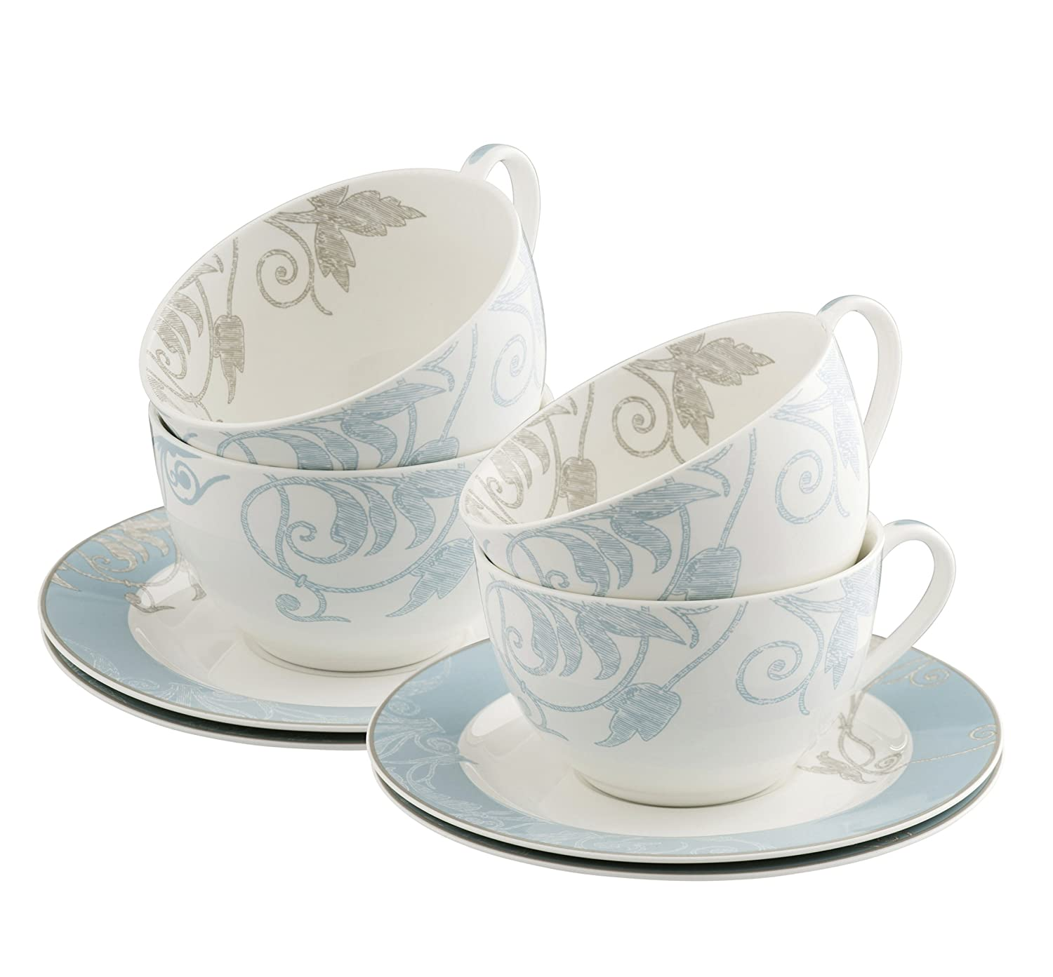 Belleek Living Novello Teacup and Saucer, Multi-Colour, Set of 4 7998