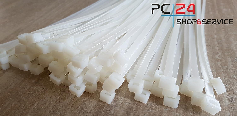 Premiumqualit/ät von PC24 Shop /& Service Kabelbinder 750mm Beige Natur 100Stck Wei/ß   auch f/ür Plakate