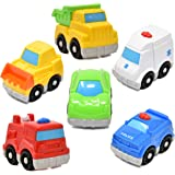 Mini Toy Vehicles for Toddlers, 6 Pack Dump Truck Car Fire Truck Construction Police Ambulance Plastic Cars Play Kit Set