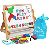 Wooden Easel for Children Foldable Double Magnetic Boards Magnetic Shapes Letters Numbers and Paper roll Kids Art Easel -Table Top Magnetic Board for Kids