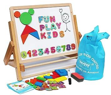 Toys of Wood Oxford Caballete Infantil - Aprende a Escribir Mientras juegas con la Pizarra magnética para niños con Letras, Formas magnéticas, números ...