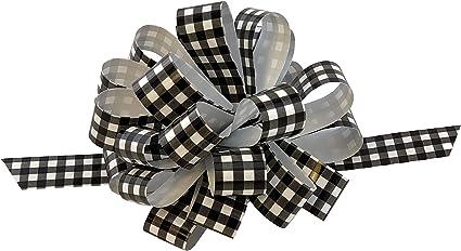 8 Wide Presents Christmas Decorations Set of 6 Black /& White Buffalo Plaid Pull Bows Farmhouse Decor Gift Bows