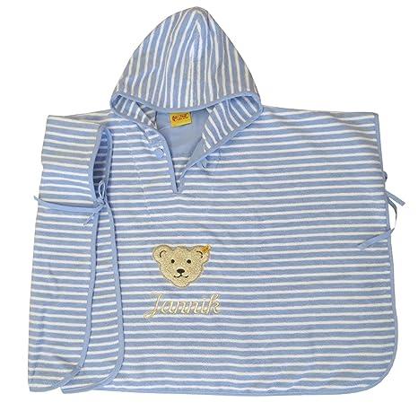 Teddy Poncho su nombre deseado bordados con Streifer/Colour blanco colour azul Steiff colección Allure