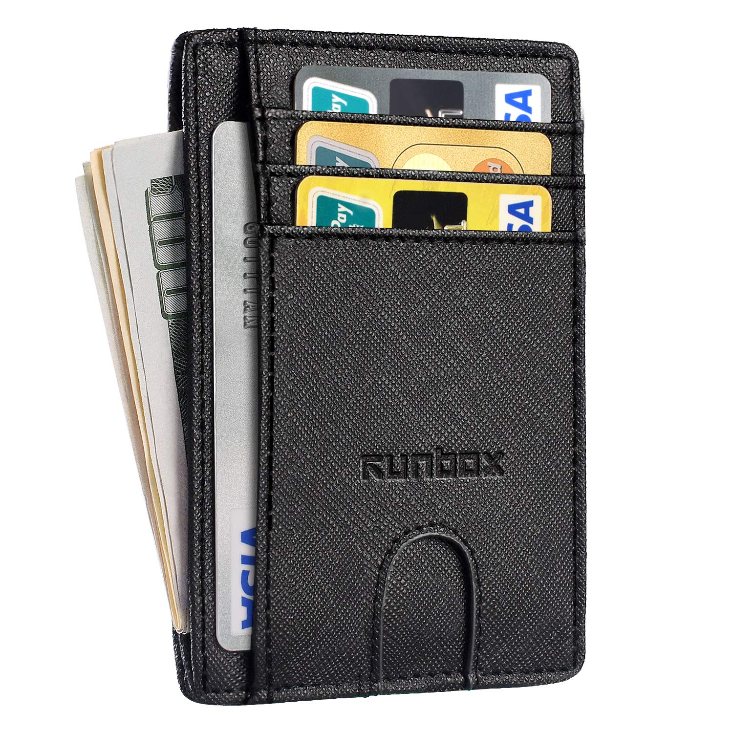 Minimalist Slim Front Pocket Wallets with RFID Blocking & Genuine Leather for Men or Women
