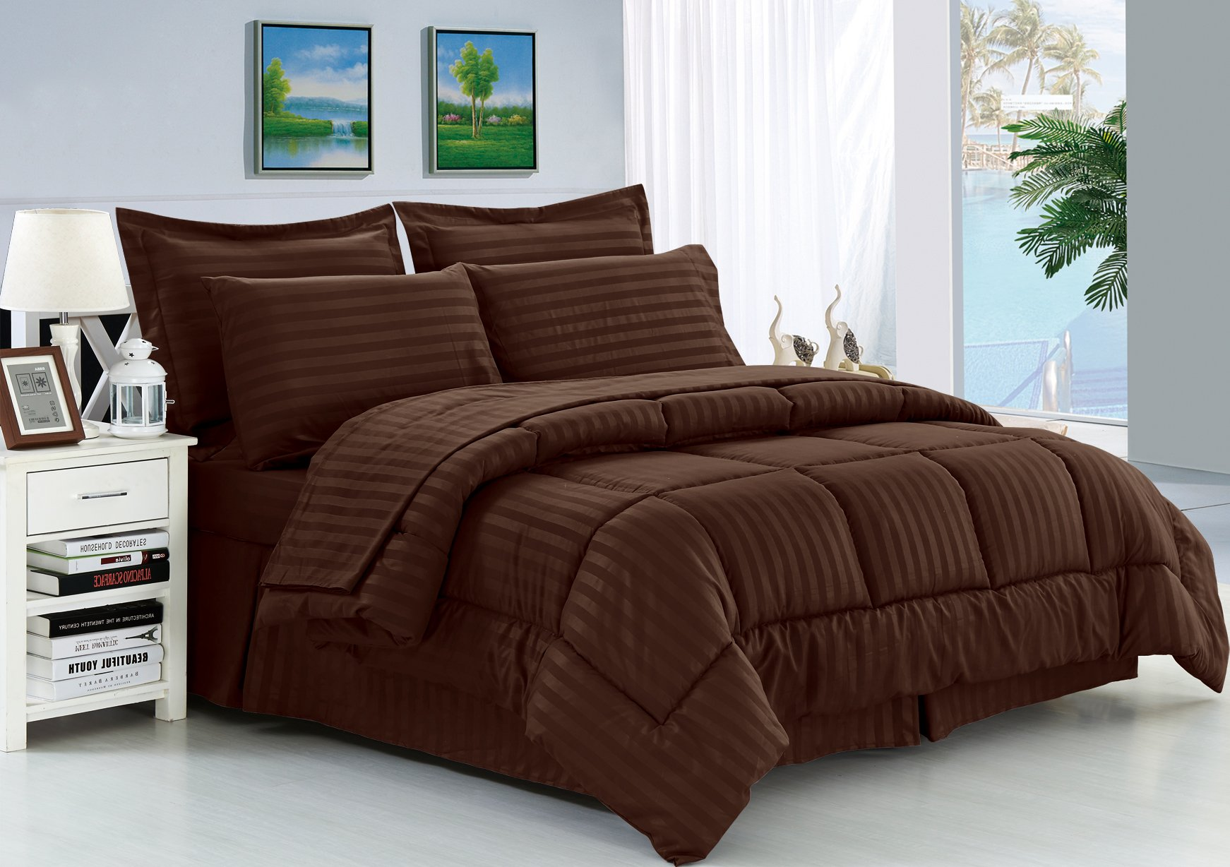 Elegant Comfort Wrinkle Resistant - Silky Soft Dobby Stripe Bed-in-a-Bag 8-Piece Comforter Set -HypoAllergenic - Full/Queen, Chocolate