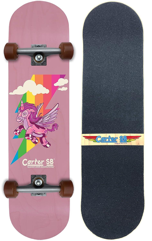 Carter SB Beginner Girls Unicorn Pink Skateboard | Kids Skateboard Materials and Design for Optimal Performance | Handmade in The USA | Great for Children and Smaller Riders