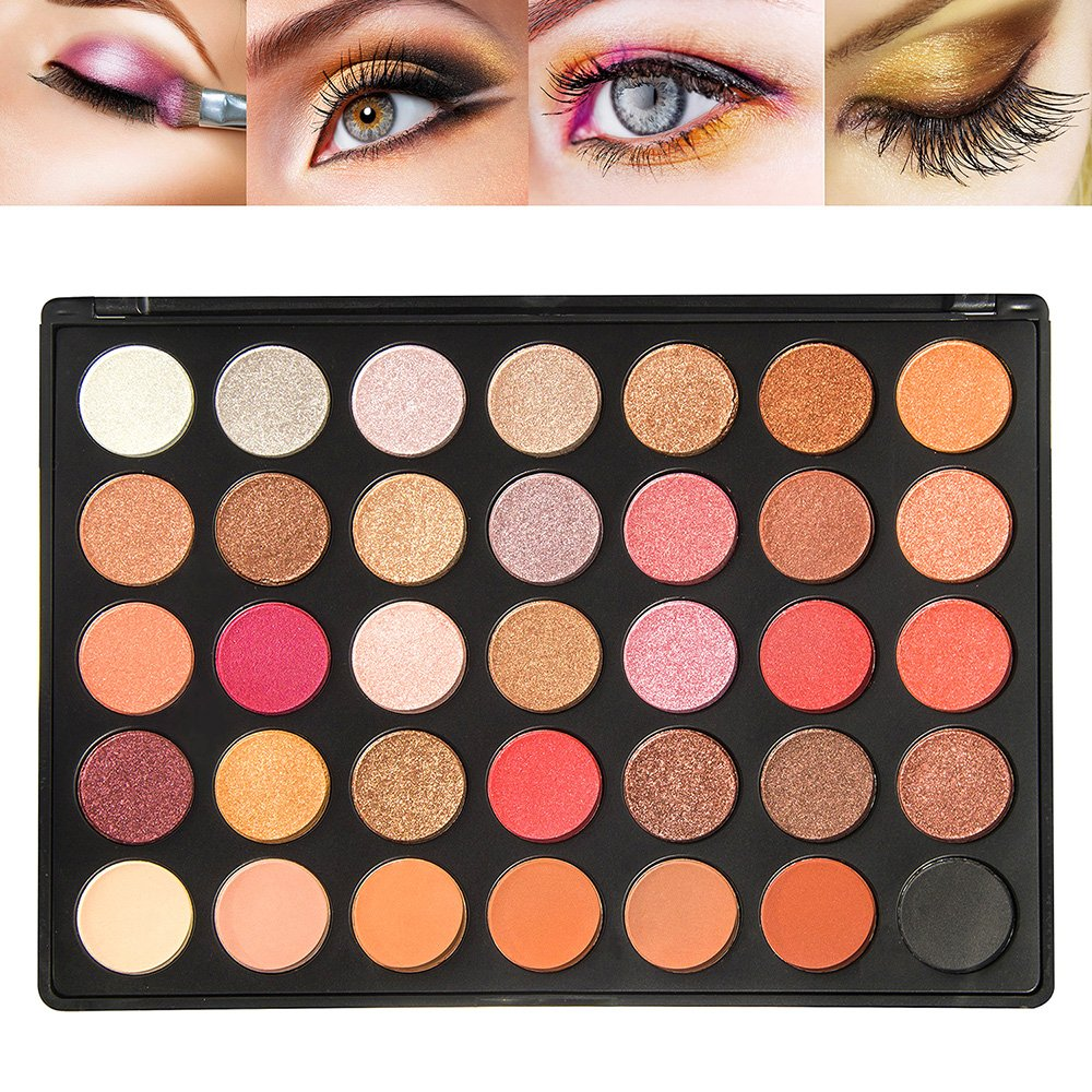 Matte and Shimmer Eyeshadow Palette, 35 Color Warm Pigmented Makeup Palette Nature Eye Shadow