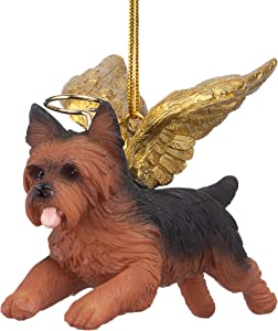 Design Toscano JH170737 Christmas Tree Ornaments - Honor The Pooch Yorkie Holiday Angel Dog Ornaments,Multi