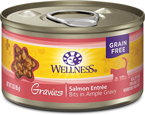 Wellness Natural Grain Free Wet Canned Cat Food Gravies Salmon