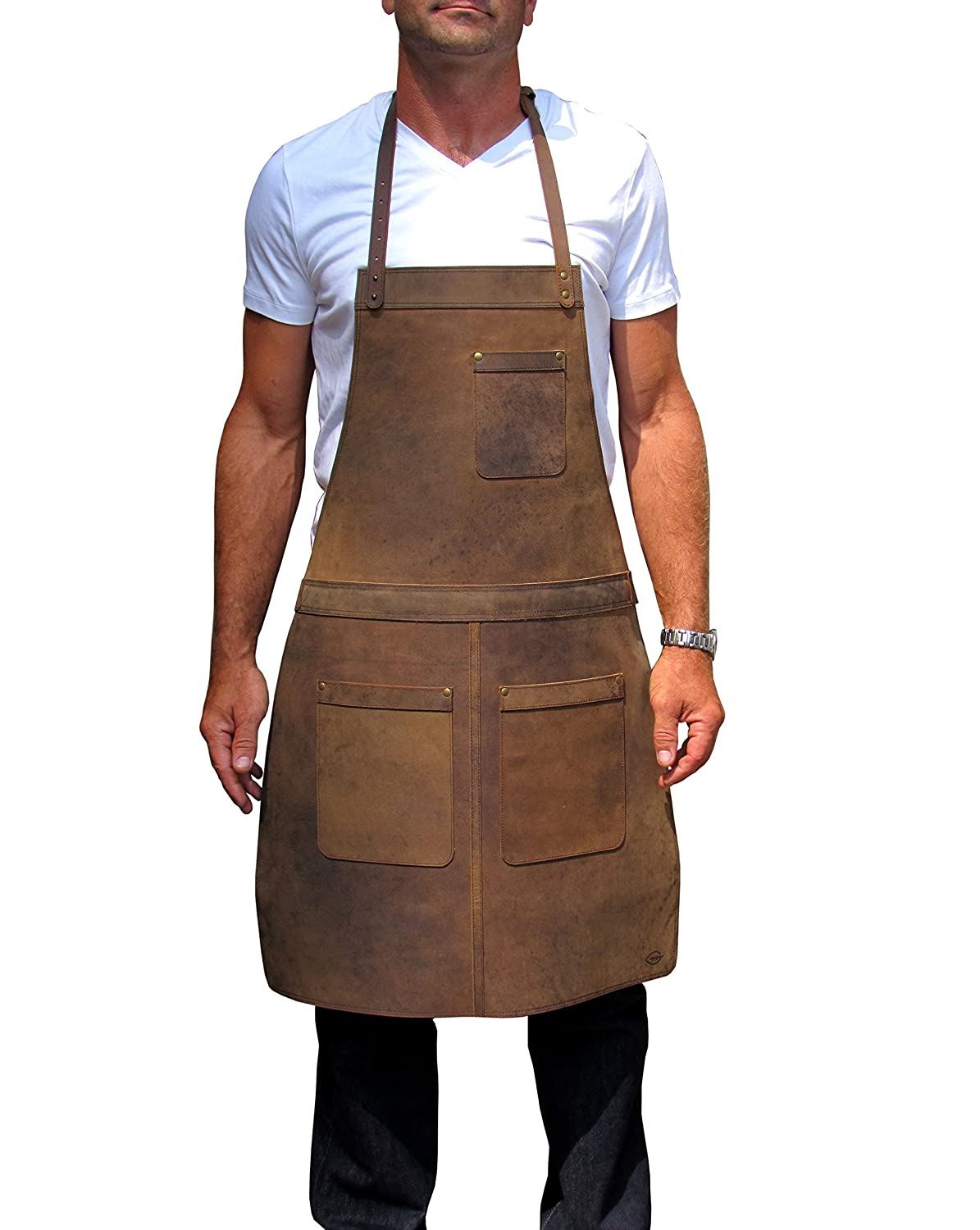 Ultimate Leather Apron for Professionals. from One Leaf (Brass Colour Hardware) AP2c